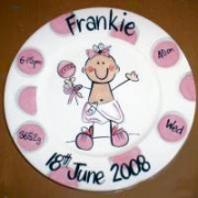 Handpainted Plate - Dotty Baby Girl